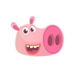 Cartoon pig head icon vector