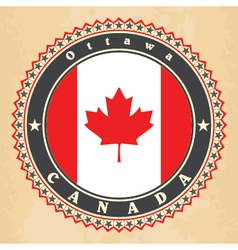 Vintage label cards of canada flag vector