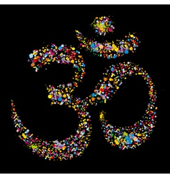 Grunge colourful religious hindu symbol om vector