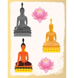 Lotus flower and buddha vector