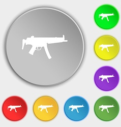 Machine gun icon sign symbol on five flat buttons vector