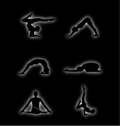 Glowing figures of yoga pose vector