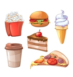 Cartoon fast food icons vector