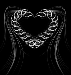 Heart of smoke on a black background vector