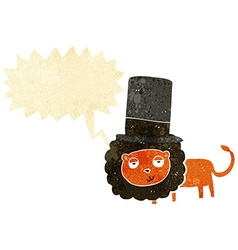 Cartoon lion in top hat with speech bubble vector
