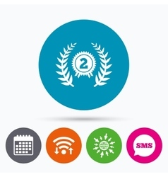 Second place award sign icon prize for winner vector