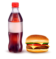 hamburger and cola vector image