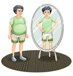 A fat man outside the mirror and a skinny man vector