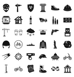 Alien icons set simple style vector
