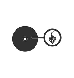 Black icon on white background music plate and vector