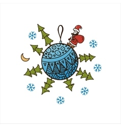 Blue ball with Christmas trees Santa Claus vector image vector image