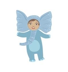 Boy wearing elephant animal costume vector