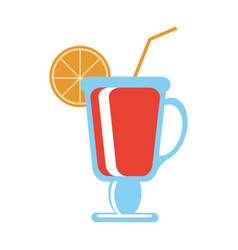 Cocktail with citrus wedge icon image vector