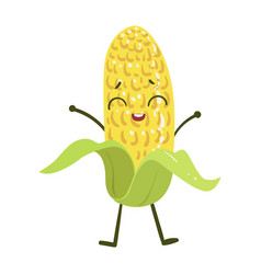Corn cute anime humanized smiling cartoon vector