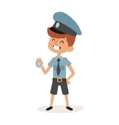 Cute cartoon character of policeman boy in uniform vector image