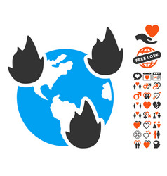 earth disasters icon with dating bonus vector image vector image