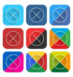 Flat popular social network web square icon delete vector image