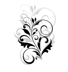 Floral motif in black and grey over white vector image