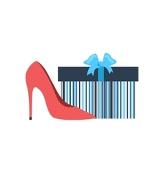 Gift box and woman shoes flat design vector