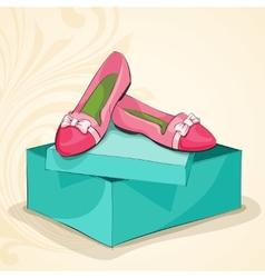 Glamour womans pink ballet flats vector
