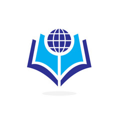 globe world book logo concept vector image vector image