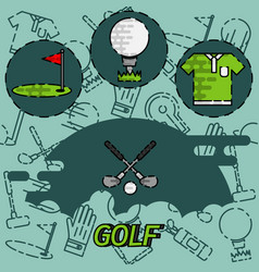 Golf flat concept icons vector