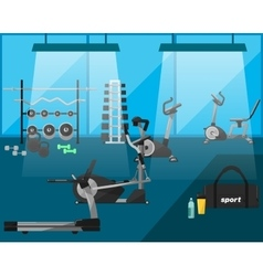 Gym interior with equipment gym vector