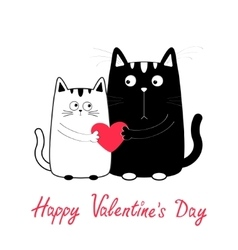 Happy valentines day cute cartoon black white cat vector