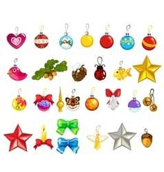 Large set of Christmas tree decorations vector image