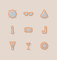 Line icon summer set vector