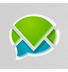 Modern 3d paper speech bubble design vector image