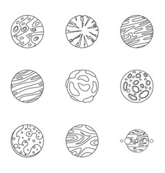 Mystery planet icons set outline style vector