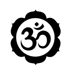 Om or Aum sign in mandala round shape isolated vector image