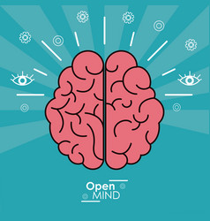 Open mind human brain concept design vector
