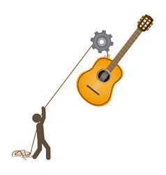 Person with pulleys hanging the guitar vector