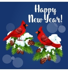 Red cardinal birds on pine tree vector