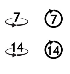 return of goods within 7 or 14 x9days sign icon vector image vector image