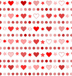 Seamless background with patterned hearts dots and vector