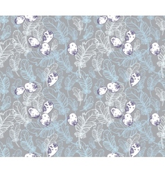 Seamless Pattern with Feathers and Eggs vector image vector image