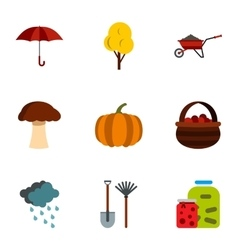 Season of year autumn icons set flat style vector