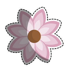 Silhouette sticker with pink flower icon floral vector
