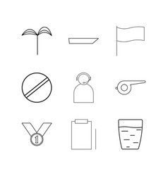 Sport and wellness linear icon set simple outline vector
