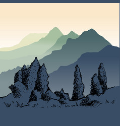 the nature of kyrgyzstan vector image