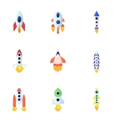 Types of rocket icons set cartoon style vector