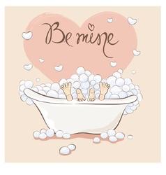 Valentin card - bath for lovers vector