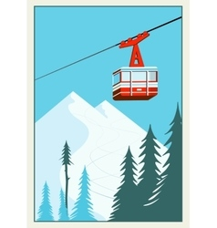 Vintage winter cartoon background poster red ski vector