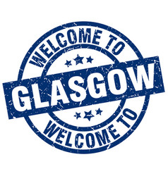 welcome to glasgow blue stamp vector image vector image