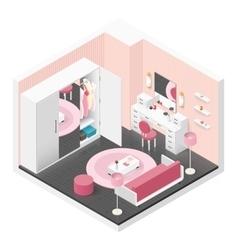 Women room isometric icon set vector