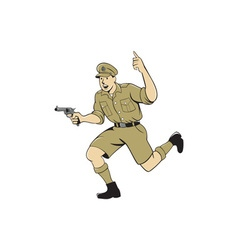 World War One British Officer Running Pistol vector image vector image