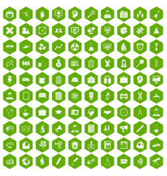 100 seminar icons hexagon green vector